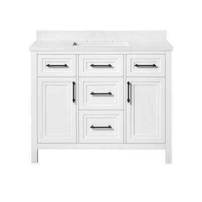 Mayfield 42 in. W x 22 in. D Vanity in White with Cultured Marble Vanity Top in White with White Basin