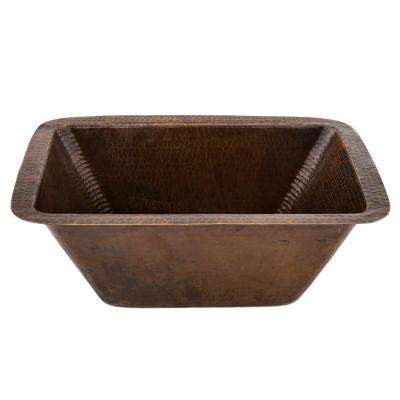 Undermount Hammered Copper 17 in. 0-Hole Bar Sink in Oil Rubbed Bronze