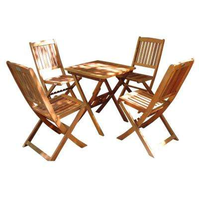 Malibu Outdoor 5-Piece Wood Square Outdoor Bistro Set