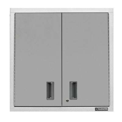 Premier Series Pre-Assembled 30 in. H x 30 in. W x 12 in. D Steel 2-Door Garage Wall Cabinet in Hammered White