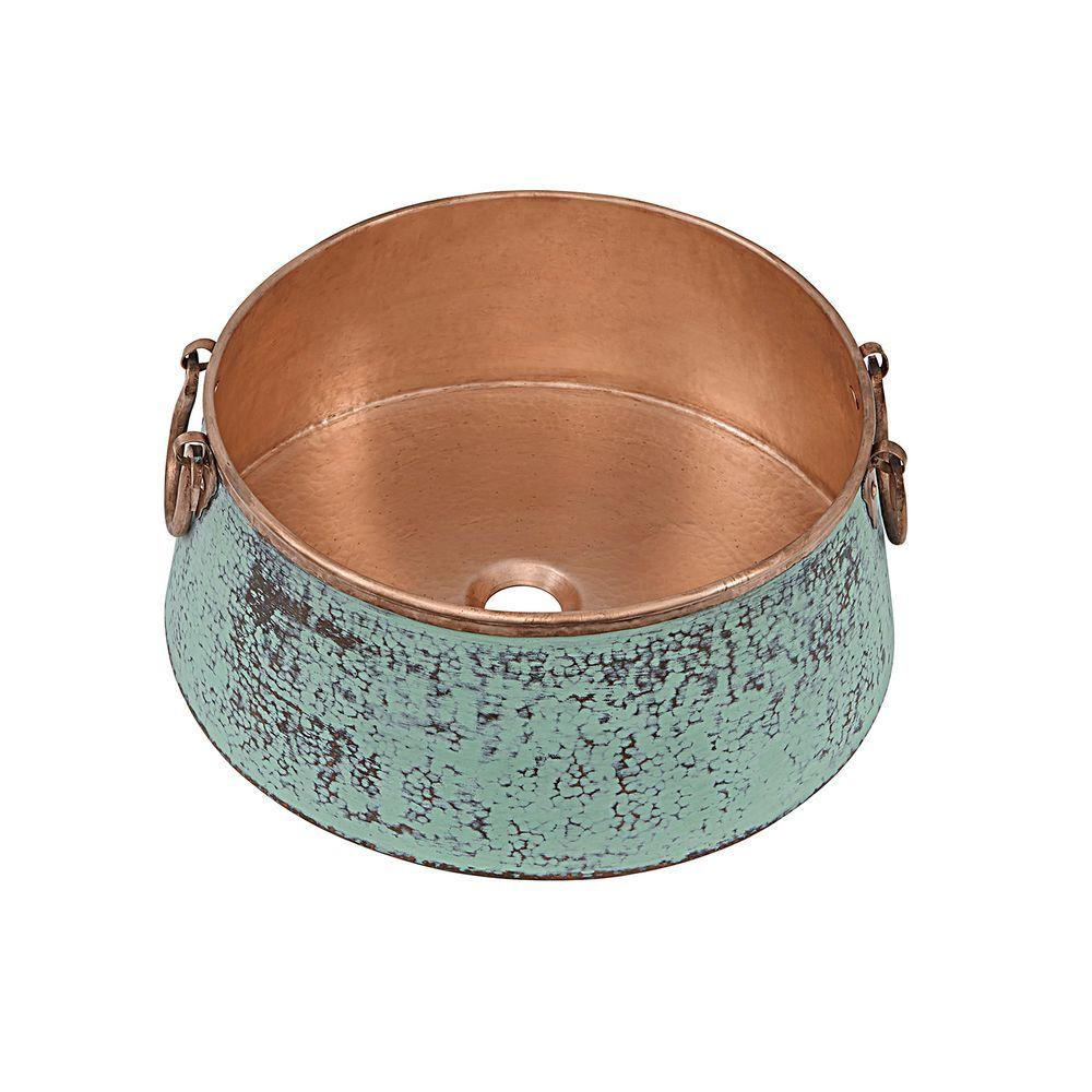 SINKOLOGY Noble 16 in. Copper Vessel Sink in Copper Verde and Naked Unfinished Copper