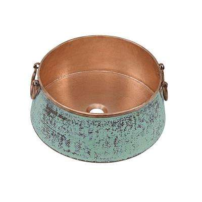 Noble Copper Vessel Sink in Copper Verde and Naked Copper