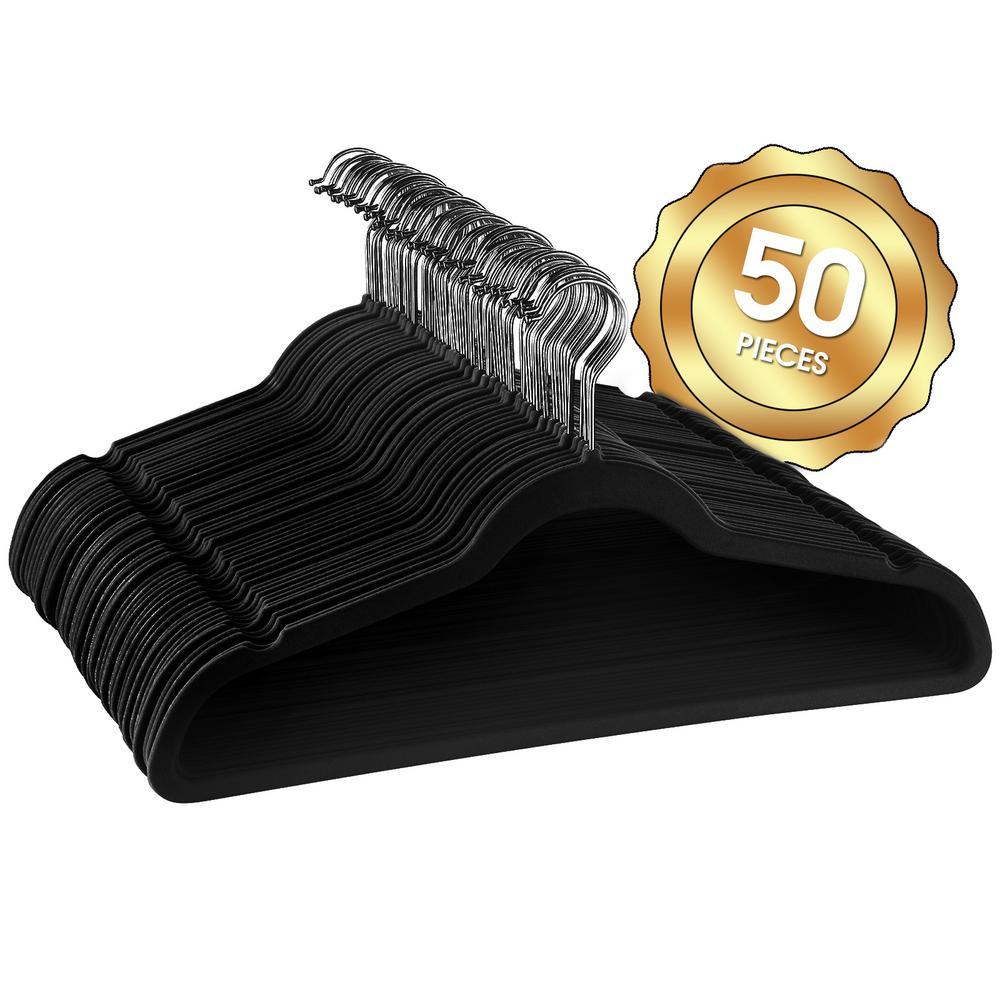 Velvet Slim Profile Black Clothes Hangers with Stainless Steel Swivel Hooks (50-Pack)