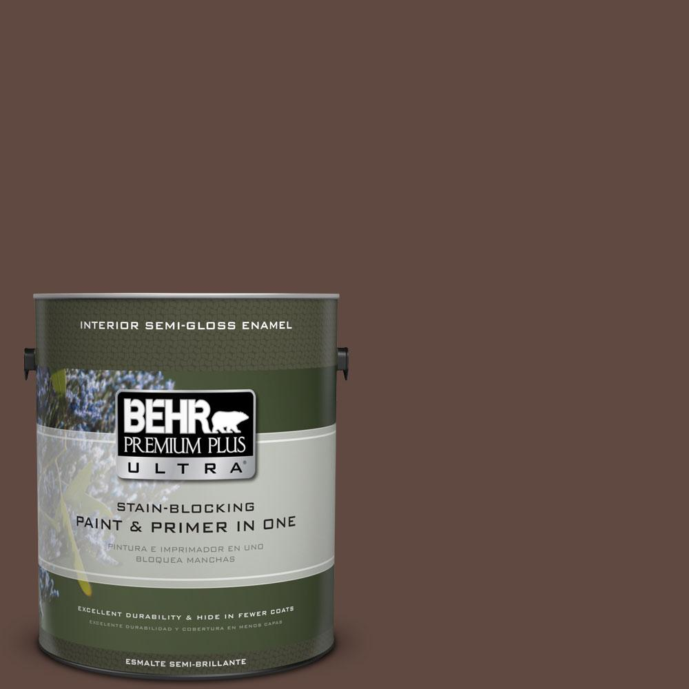BEHR Premium Plus Ultra 1-gal. #N150-7 Chocolate Therapy Semi-Gloss Enamel Interior Paint