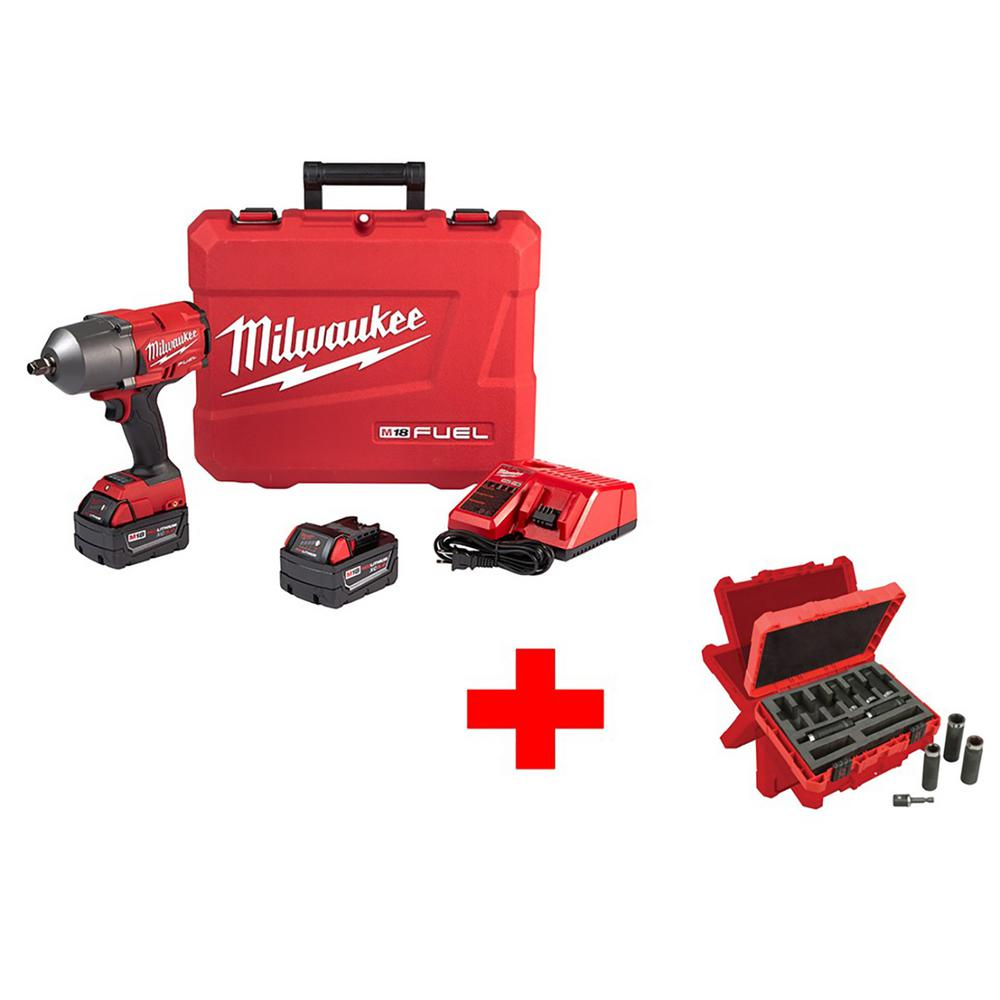 Milwaukee M18 FUEL 18-Volt Lithium-Ion Brushless Cordless 1/2 in. Gen II Impact Wrench W/ Friction Ring Kit W/Socket Set(9-Piece)