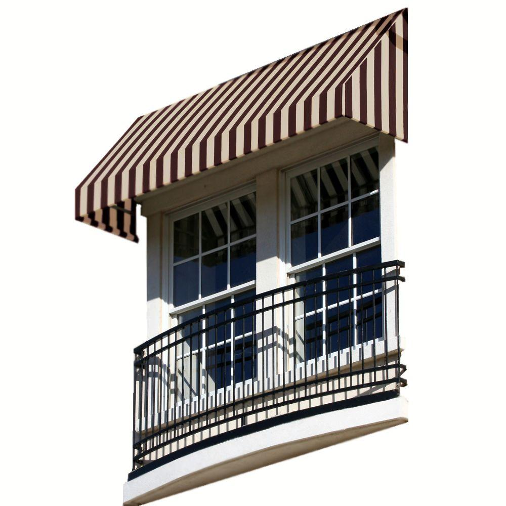 AWNTECH 3 ft. New Yorker Window/Entry Awning (24 in. H x 42 in. D) in Brown / Tan Stripe