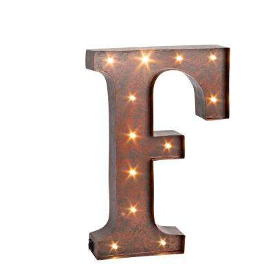 """12 in. H """"F"""" Rustic Brown Metal LED Lighted Letter"""
