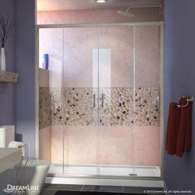 Visions 60 in. W x 30 in. D x 74-3/4 in. H Semi-Frameless Shower Door in Brushed Nickel with White Base Right Drain
