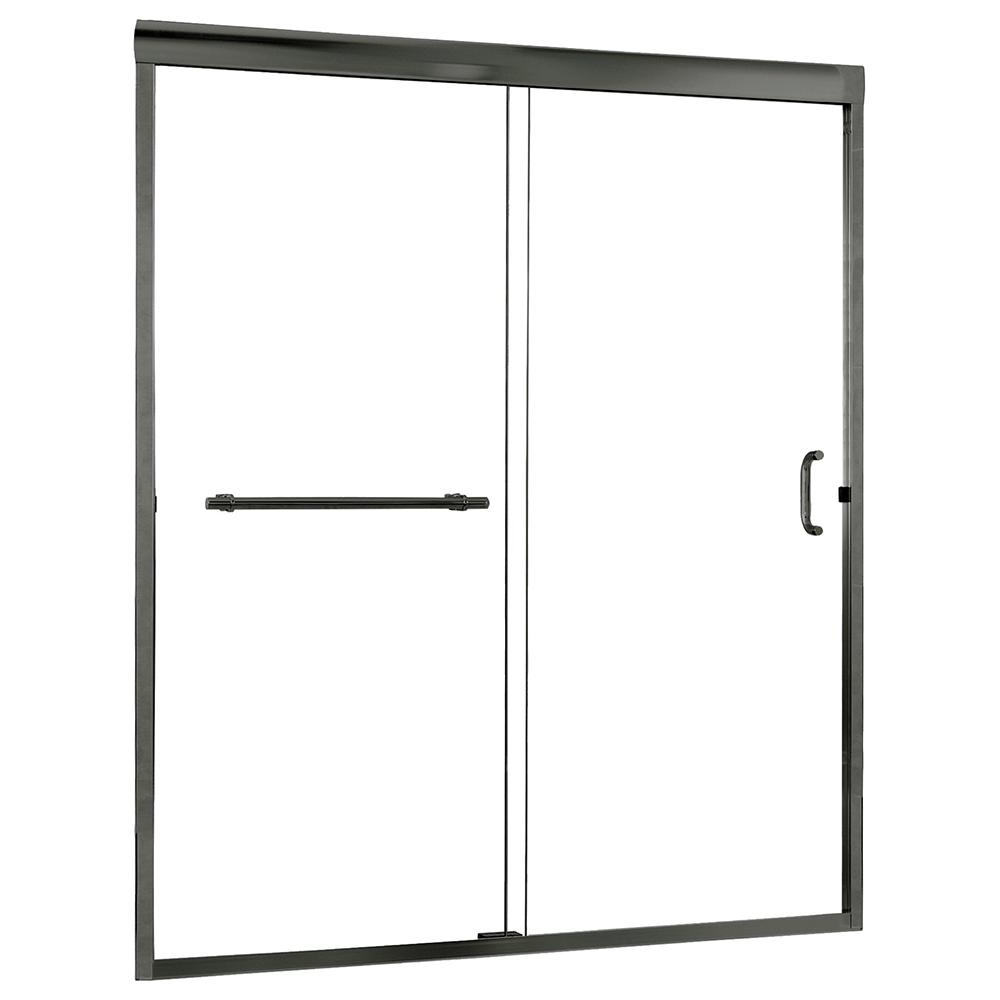 Foremost Marina 48 in. x 72 in. H Semi-Framed Sliding Shower Door in Brushed Nickel with 3/8 in. Clear Glass
