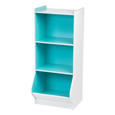 3-Tier Storage Organizer Shelf with Footboard, White and Blue
