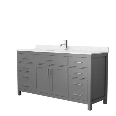 Beckett 66 in. W x 22 in. D Single Vanity in Dark Gray with Cultured Marble Vanity Top in Carrara with White Basin