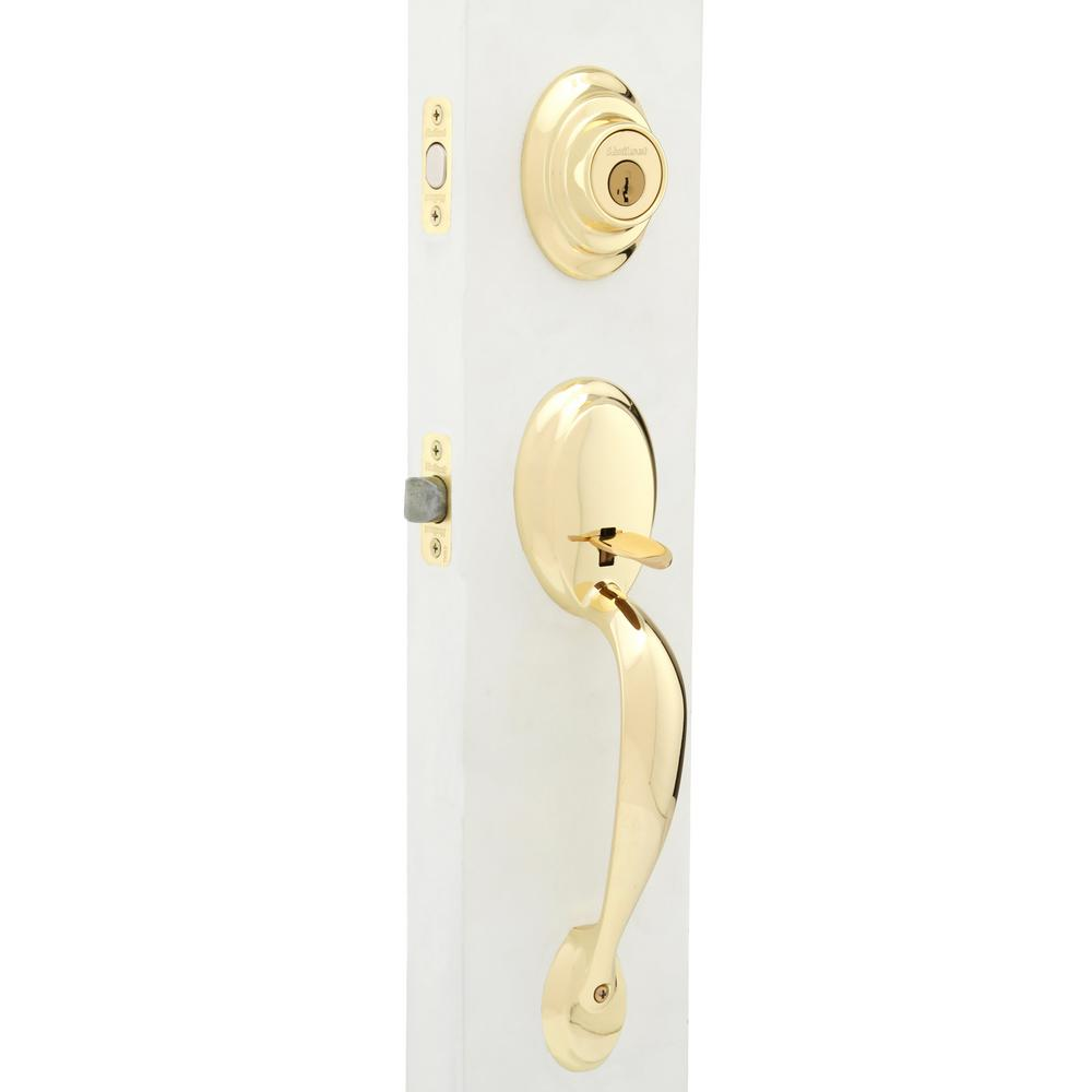 Kwikset Dakota Polished Brass Single Cylinder Door Handleset with Tylo Door Knob Featuring SmartKey Security