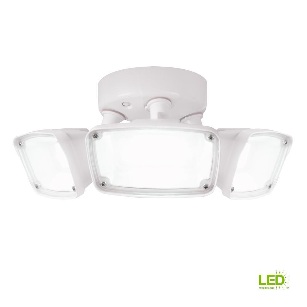 Defiant 270 Degree White Motion Activated Outdoor Integrated Led Flood Lamp Circuit B2b Electronic Components Fhs Triple Head Light With 4000k