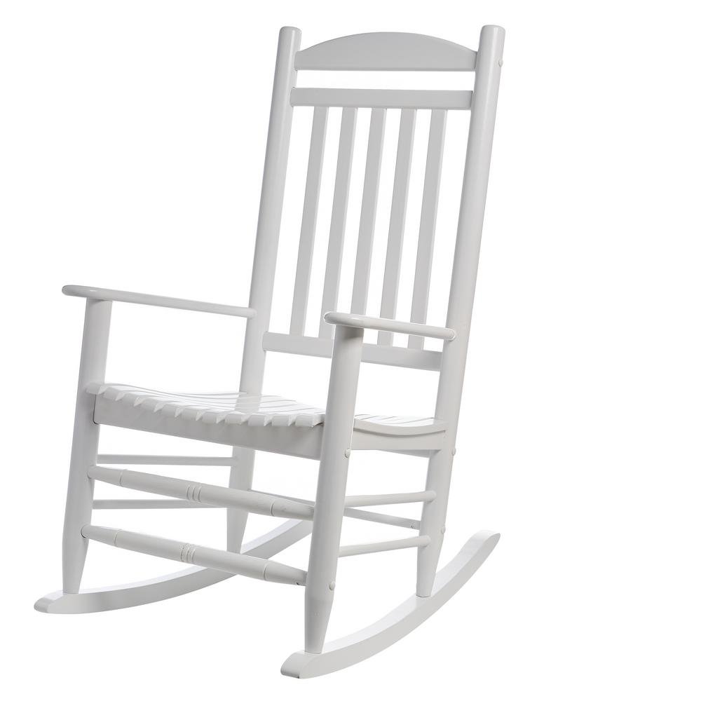 Hampton Bay White Wood Outdoor Rocking Chair 1 2 1200w The Home Depot