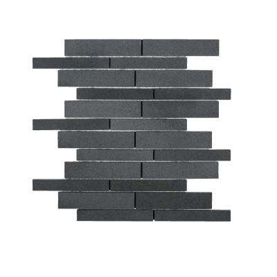 Tarmac Gray 10 in. x 11.875 in. x 8 mm Interlocking Honed Natural Stone Mosaic Tile