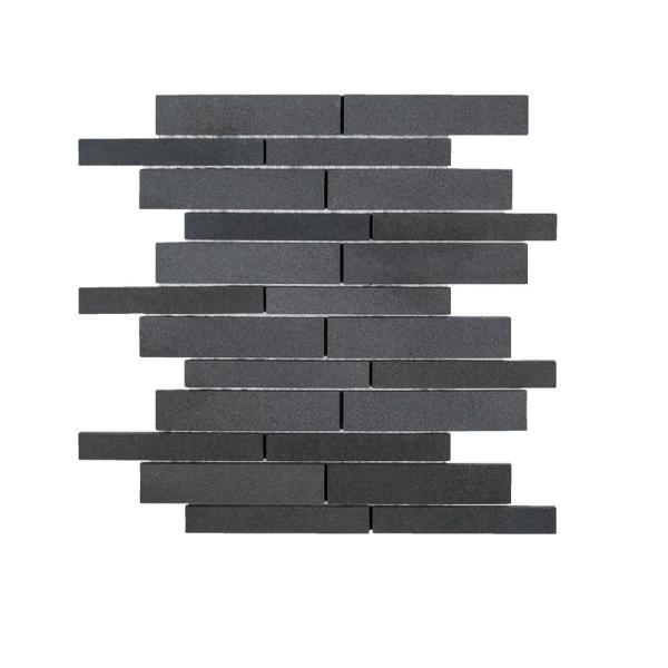 Tarmac Gray 10 in. x 12.in. Interlocking Honed Basalt Mosaic Tile (0.833 sq. ft./Each)