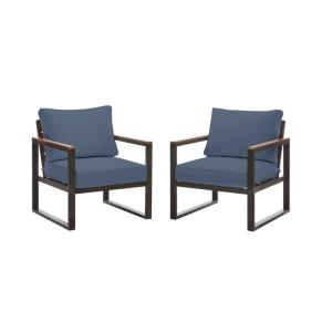 West Park Black Aluminum Outdoor Patio Lounge Chair with CushionGuard Sky Blue Cushions (2-Pack)