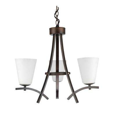 3-Light Oil-Rubbed Bronze Chandelier with Etched Dove White Glass Shade