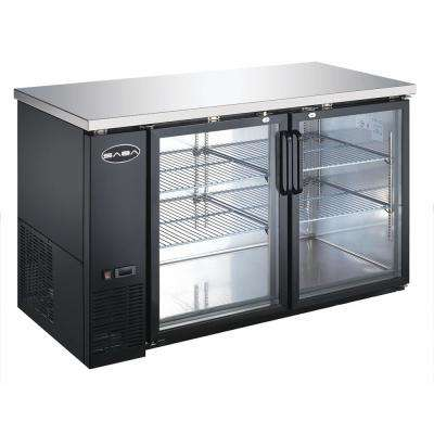 59 in. W 19 cu. ft. Commercial Under Back Bar Cooler Refrigerator with Glass Doors in Stainless Steel with Black Finish