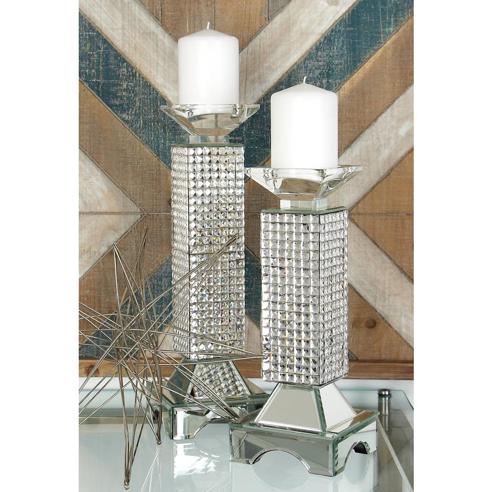 13 in. Clear Glass and Mirror Tiled Pillar Candle Holder