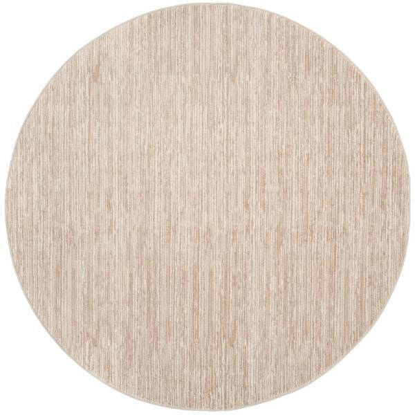 Vision Cream 5 ft. x 5 ft. Round Area Rug
