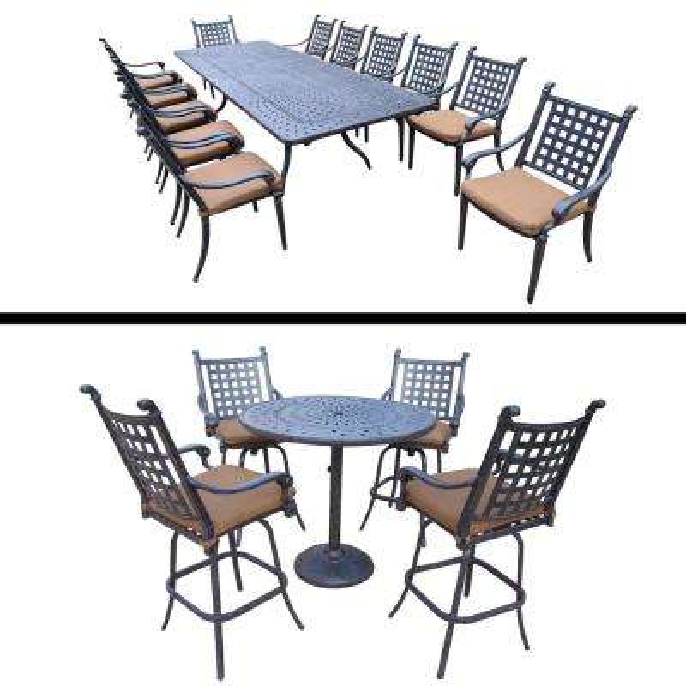Belmont Premier 18-Piece Aluminum Outdoor Bar Height Dining Set with Sunbrella Brown Cushions