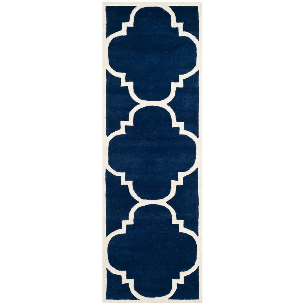 Safavieh Chatham Dark Blue Ivory 2 Ft X 11 Ft Runner Rug Cht730c 211 The Home Depot