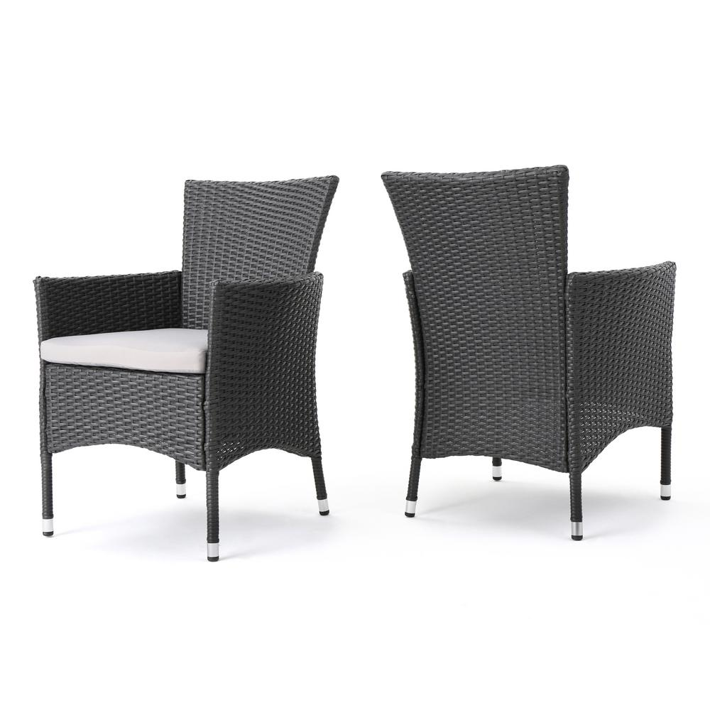 Noble house kye grey waterproof wicker outdoor dining chair with light grey cushion 2