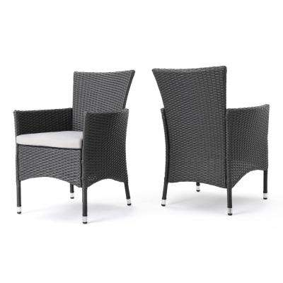 Kye Grey Waterproof Wicker Outdoor Dining Chair with Light Grey Cushion  (2-Pack) - Waterproof - Outdoor Dining Chairs - Patio Chairs - The Home Depot