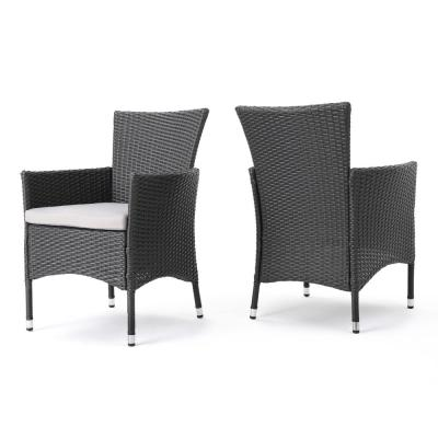 Kye Grey Waterproof Wicker Outdoor Dining Chair with Light Grey Cushion (2-Pack)