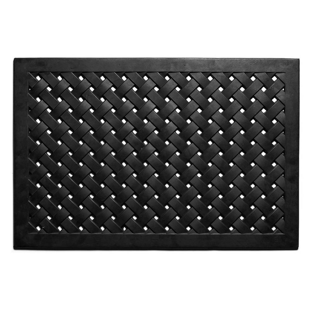 Home & More Hampton Weave 18 in. x 48 in. Rubber Door Mat, Black Rubber Ridge Mats are heavy-duty, durable mats designed for low profile door clearance. Excellent for commercial or residential use, the raised nub scrapes shoes while the trenches capture the debris, keeping it from your home or business. Hose clean. Color: Black.