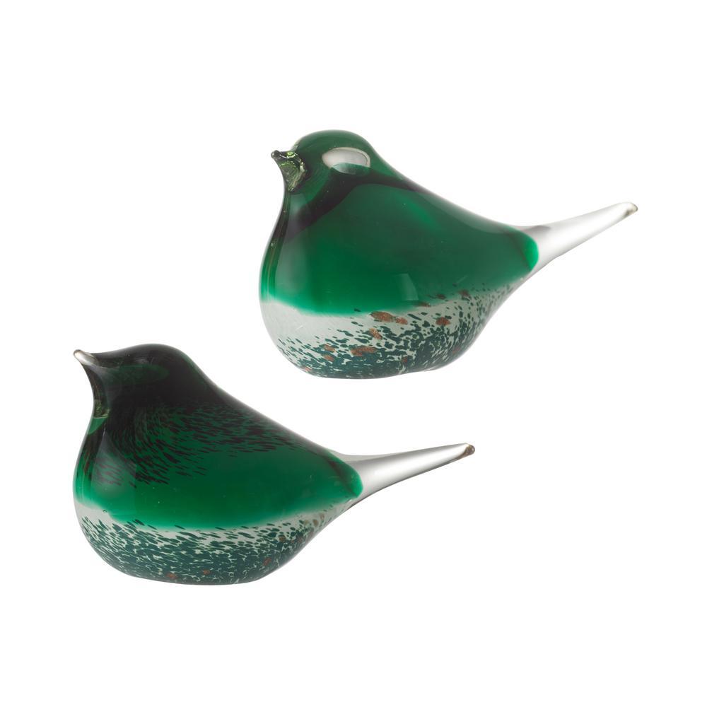 Green Glass Bird Statues (Set of 2)
