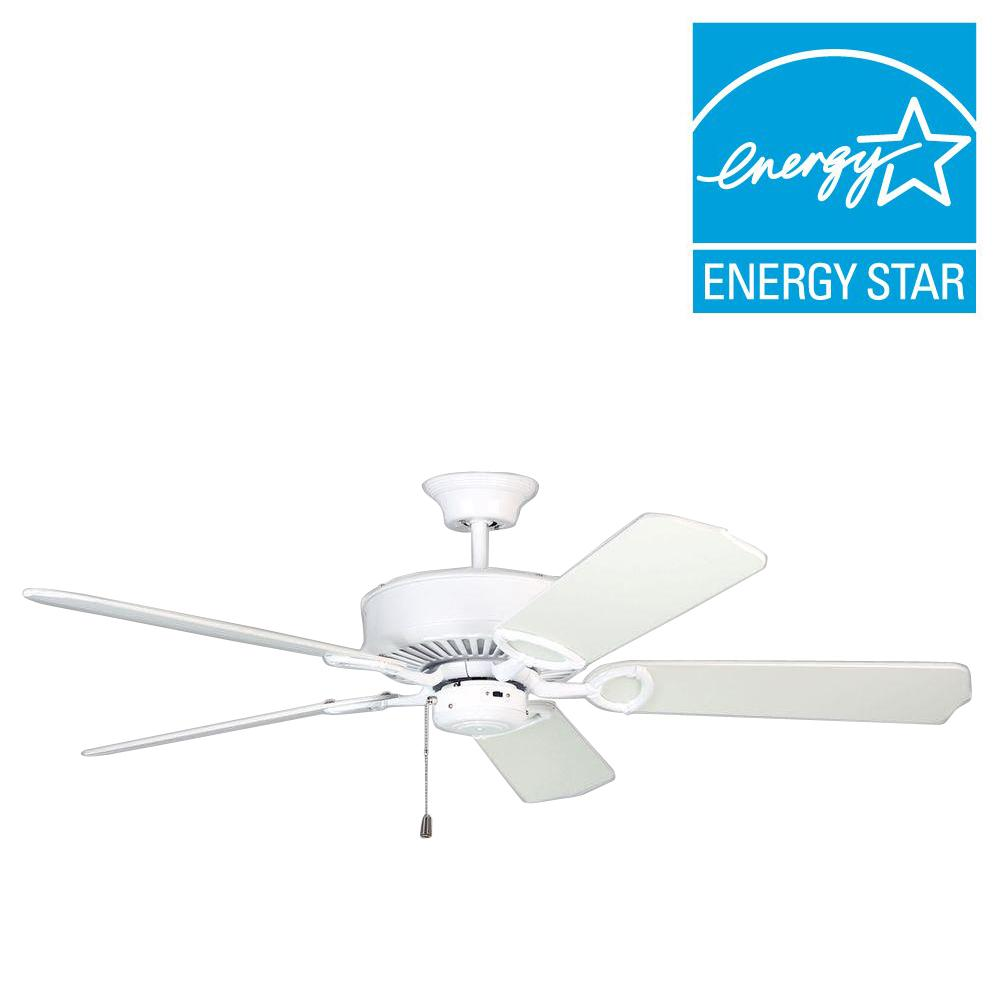 Designers Choice Collection Excellence 52 in. White Ceiling Fan ...