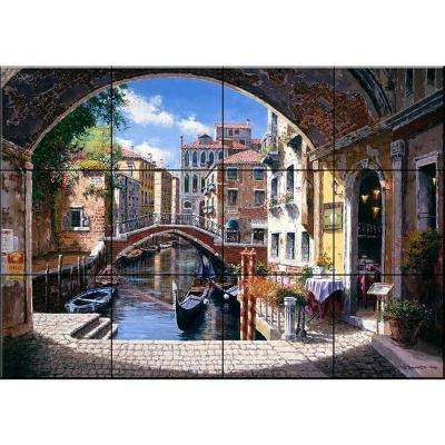 Archway to Venice 17 in. x 12-3/4 in. Ceramic Mural Wall Tile