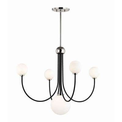 Coco 5-Light Polished Nickel/Black LED Chandelier with Opal Shiny Glass Shade