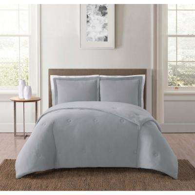 Everyday Solid Jersey Grey Full/Queen Comforter Set with 2-Shams