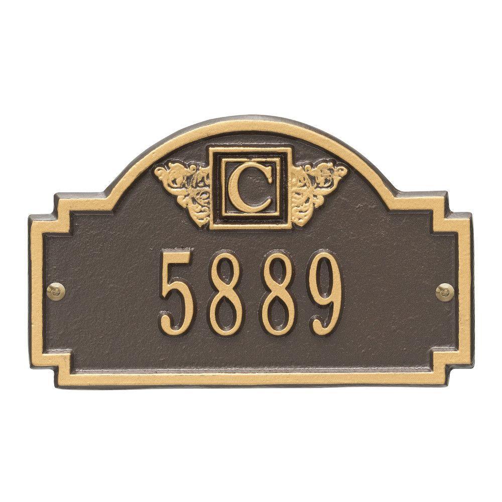 Monogram Petite Wall Square Bronze/Gold 1-Line Address Plaque