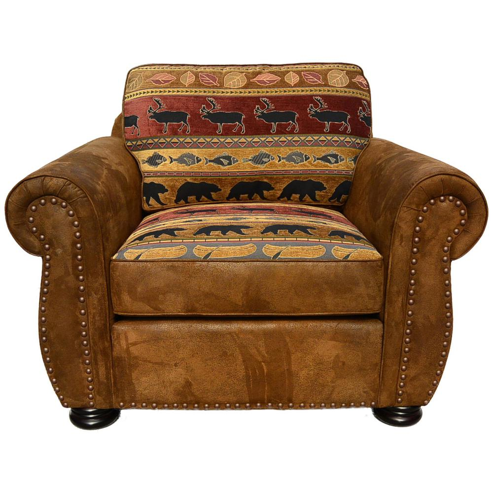 Country Lidge Style Accent Chair: Hunter Transitional Arm Chair In Wildlife Pattern-01-33C