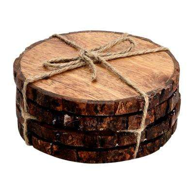 Log Cut 4-Pieces Round Coaster Set