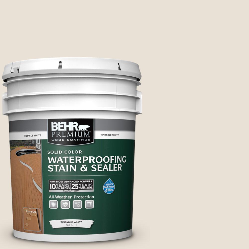 BEHR Premium 5 gal. #73 Off White Solid Waterproofing Exterior Wood Stain and Sealer