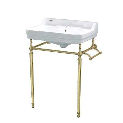 Victoriahaus Console Table Combo in White with Metal Legs in Polished Brass