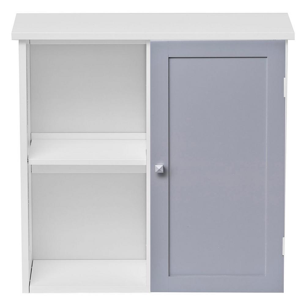 Custom DIY 24 W in. Wall Mounted Bath Cabinet-1 Door-Diamond Handle-Lacquered in Light Grey