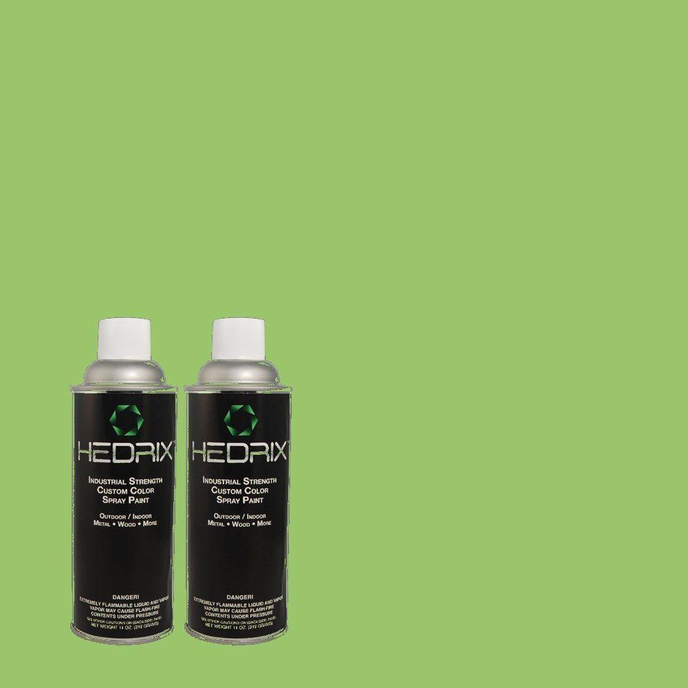 Hedrix 11 oz. Match of 1A57-5 Parrot Green Flat Custom Spray Paint (2-Pack)