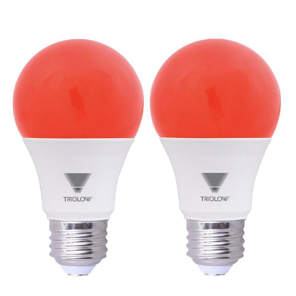 Home Depot Colored Light Bulbs: TriGlow 60-Watt Equivalent A19 Red LED Light Bulb (2-Pack