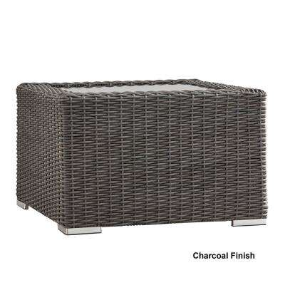 Camari Charcoal Wicker Outdoor Accent Table with Glass Top