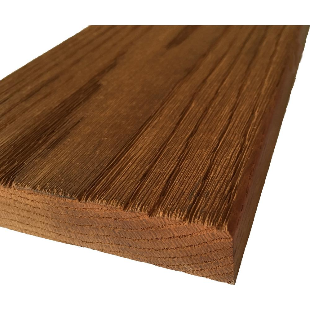 WellDone 5/4 in. x 5 in. x 7 ft. Thermo-Treated Premium Oak Anti-Slip Textured Heavy Decking Board (8-Pack)