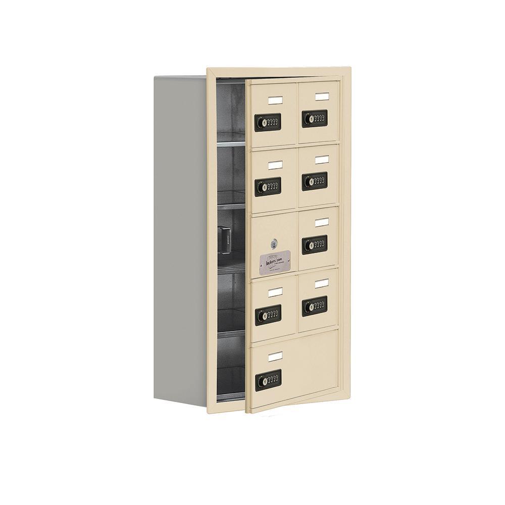 19100 Series 16.25 in. W x 29.75 in. H x 8.75 in. D 8 Doors Cell Phone Locker Recess Mount Resettable Lock in Sandstone