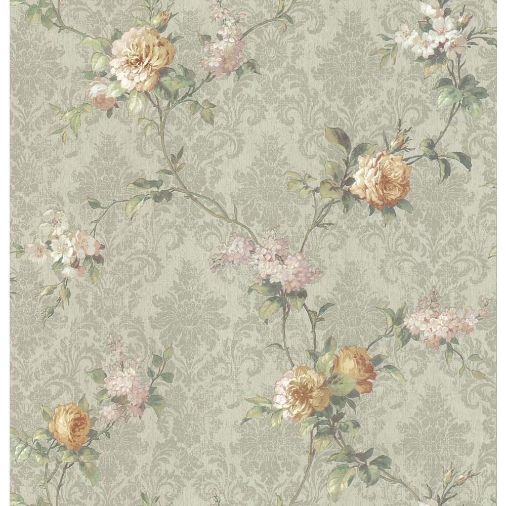 Brewster 56 sq. ft. Damask Floral Wallpaper