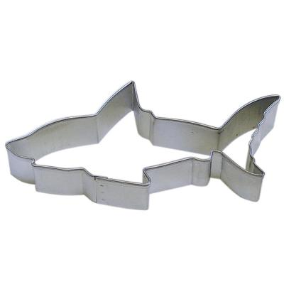 12-Piece 4.5 in. Shark Tinplated Steel Cookie Cutter & Cookie Recipe