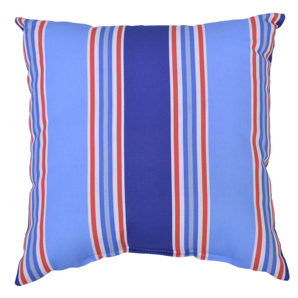 Hampton Bay Mariner Stripe Square Outdoor Throw Pillow